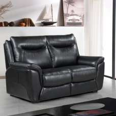 Merryn Contemporary 2 Seater Sofa In Black Faux Leather