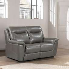 Merryn Contemporary 2 Seater Sofa In Grey Faux Leather