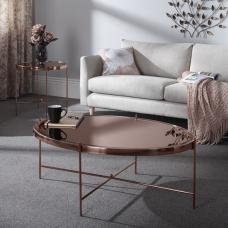 Merton Mirrored Coffee Table In Rose Gold With Metal Frame