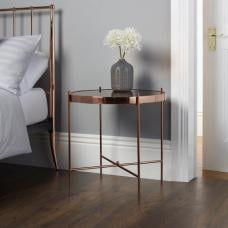 Merton Mirrored Lamp Table In Rose Gold With Metal Frame