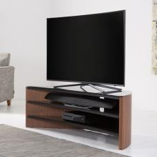 Metas Curved TV Stand In Walnut With Black Glass
