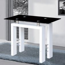 Kontrast Console Table In Black Glass With White High Gloss