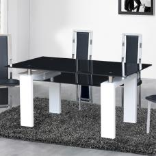 Kontrast Dining Table In Black Glass With White Gloss Legs
