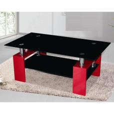 Kontrast Coffee Table In Black Glass With Red High Gloss Legs