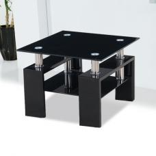 Kontrast Black Glass Side Table With High Gloss Legs