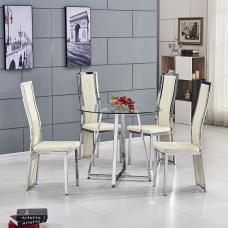 Melito Glass Dining Table Round With 4 Collete Cream Chairs