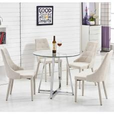 Melito Glass Dining Table Round With 4 Wilkinson Beige Chairs