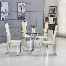 Melito Glass Dining Table Square With 4 Collete Cream Chairs