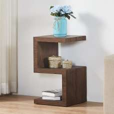 Miami Wooden Contemporary S Shape Side Table In Walnut