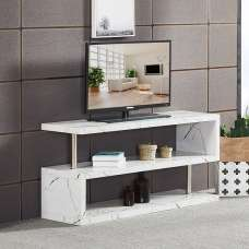 Miami Contemporary TV Stand In Glossy White Marble Finish