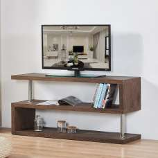 Miami Wooden TV Stand In Walnut With Chrome Supports