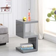 Miami Side Table In Grey High Gloss With S Shape Design