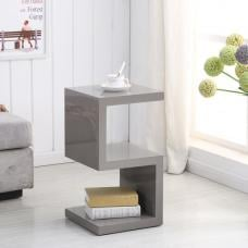 Miami Side Table In Stone High Gloss With S Shape Design