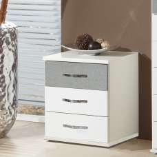 Milden Bedside Cabinet In White And Concrete Grey With 3 Drawers