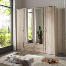 Milden Mirrored Wardrobe Large In Sanremo Oak With 4 Doors