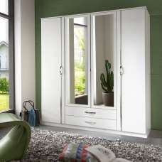 Milden Mirrored Wardrobe Large In White With 4 Doors