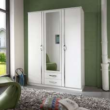 Milden Mirrored Wardrobe In White With 3 Doors And 2 Drawers
