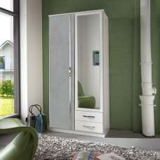 Milden Mirror Wardrobe In White And Concrete Grey With 2 Doors