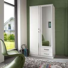 Milden Mirrored Wardrobe In White With 2 Doors