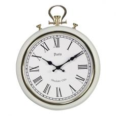Mille Pocket Style Wall Clock In White Metal With Gold Trim