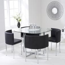 Mingo Glass Stowaway Dining Set In Clear With 4 Black Chairs