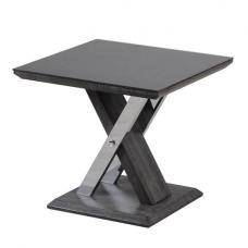 Minsk Glass Side Table In Black And Grey Walnut