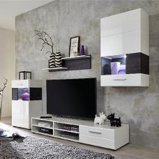 Mobel Living Room Set In White With Gloss Fronts And LED