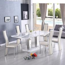 Monton Extendable Dining Set In White With 6 Collete Cream Chair