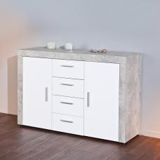 Monton Sideboard In Concrete Effect And White High Gloss Fronts