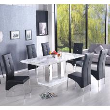 Monton Extendable Dining Table In White With 6 Black Vesta Chair