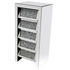 Montrez Mirrored Tall Chest Of Drawers Angled With 5 Drawers