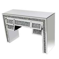 Montrez Mirrored Console Table Angled With 5 Drawers
