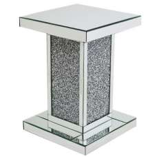 Montrez Mirrored Square Pedestal With Diamond Like Crystals