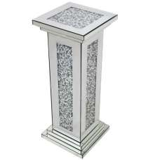 Montrez Mirrored Tall Pillar Side Table