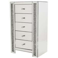 Montrez Mirrored Tall Chest Of Drawers With 5 Drawers
