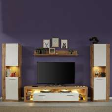 Monza Living Room Set 2 In Wotan Oak Gloss White Fronts LED