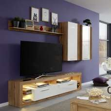 Monza Living Room Set 3 In Wotan Oak Gloss White Fronts LED