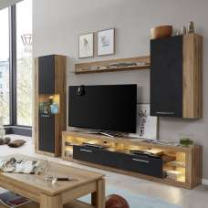 Monza Living Room Set 5 In Wotan Oak And Matera With LED