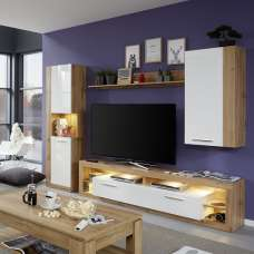 Monza Living Room Set 5 In Wotan Oak Gloss White Fronts LED