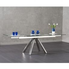 Morgan Extendable Dining Table Rectangular In Clear Glass