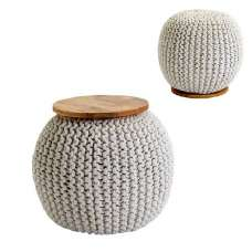 Morgan Woven Pouffe In Natural With Wooden Plate