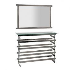 Moritz Glass Console Table With Mirror In Black Nickel Frame
