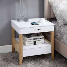 Morvik Bedside Table In White Ash With Bluetooth And Chargers