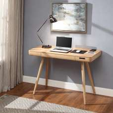 Morvik Wooden Smart Computer Desk Rectangular In Ash With Drawer