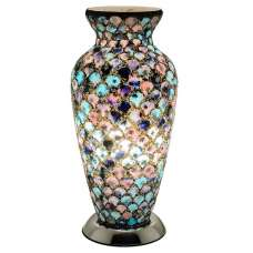 Mosaic Glass Vase Lamp With Chrome Base
