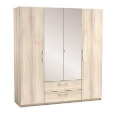 Mozart Mirrored Wardrobe In Acacia And Linen With 4 Doors
