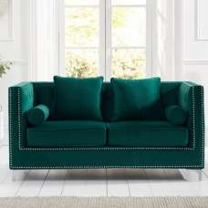 Mulberry Modern Fabric 2 Seater Sofa In Green Velvet