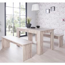 Munich Large Dining Set In Sorrento Oak With 2 Dining Benches