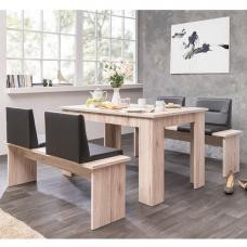 Munich Sorrento Oak Dining Table With Dining Benches And Seats