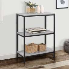 Murano Wooden Bookcase In Concrete Effect With Metal Frame